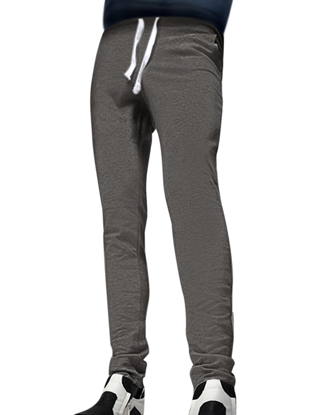 Men Drawstring Elastic Waist Tapered Slim Fit Pants Dark Gray W32
