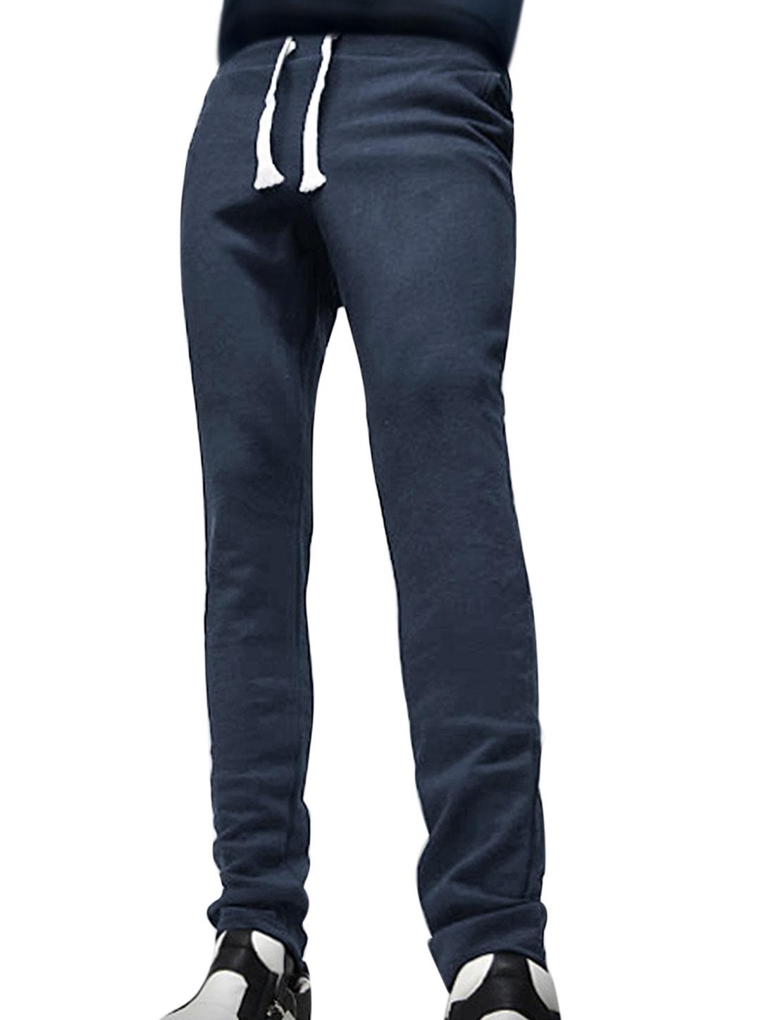 Men Drawstring Elastic Waist Tapered Slim Fit Pants Blue W32