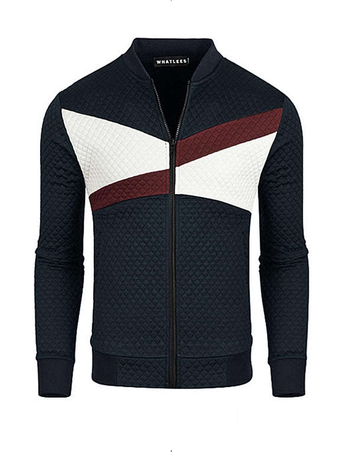 Men Color Block Side Pockets Zip Closure Slim Fit Jacket Blue M