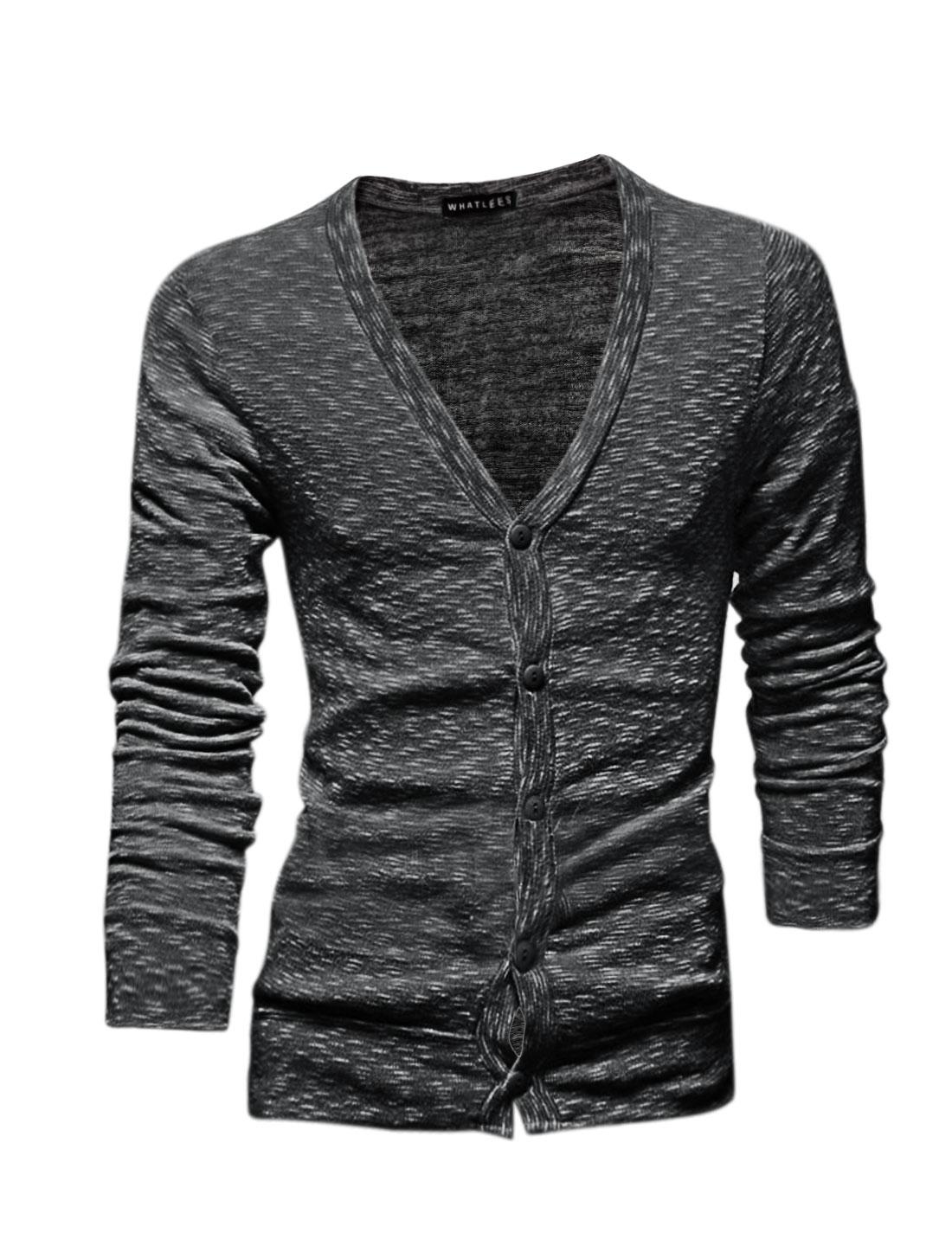 Men Long Sleeves Single Breasted Slim Fit Cardigan Black M