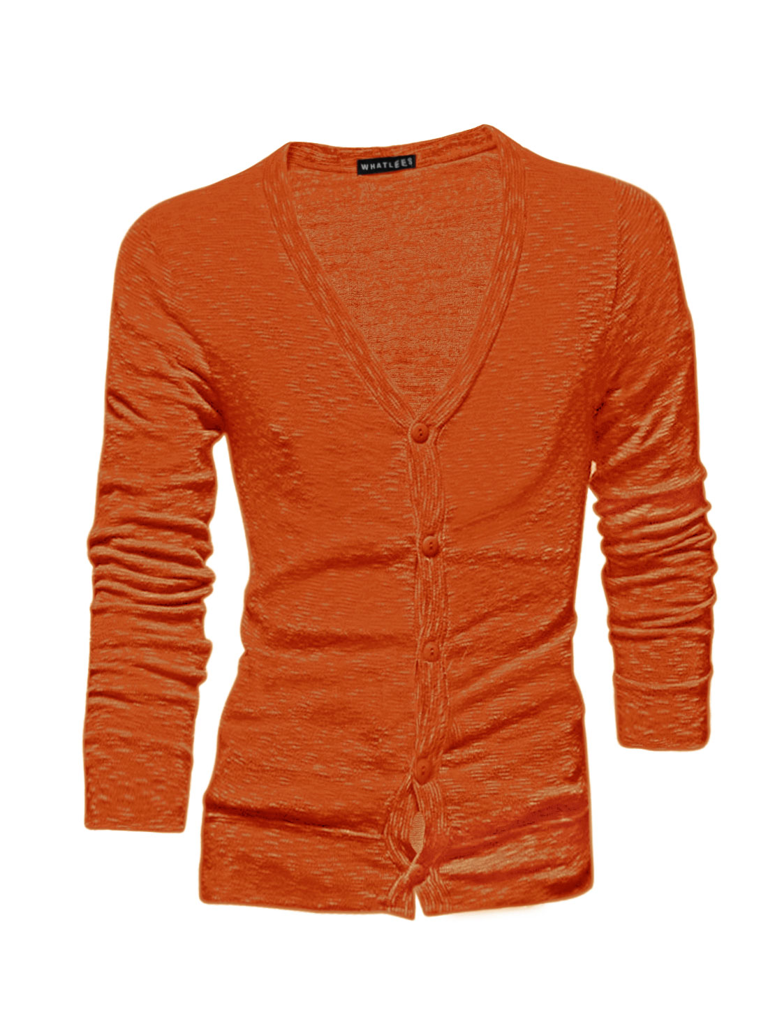 Men Long Sleeves Single Breasted Slim Fit Cardigan Orange M