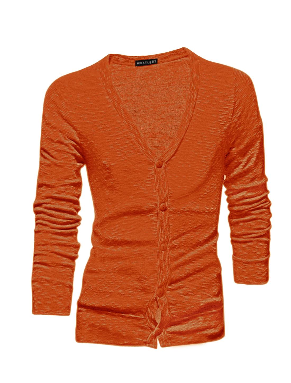Men Long Sleeves Single Breasted Slim Fit Cardigan Orange M