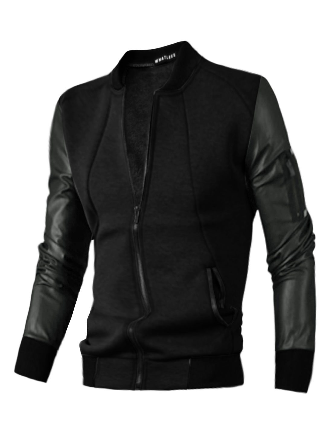 Men Stand Collar Zip Closure PU Panel Slim Fit Jacket Black M