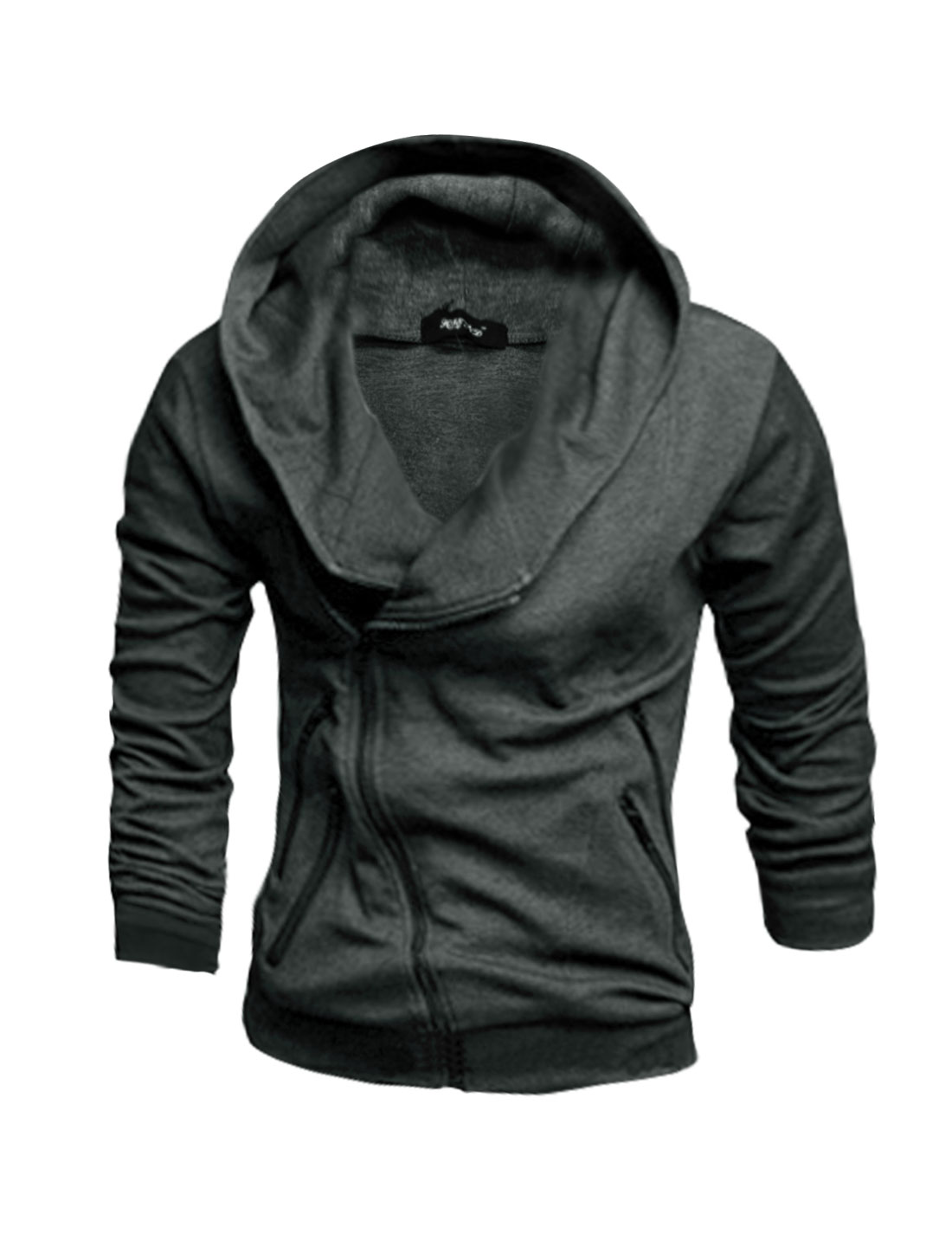Men Long Sleeves Zipper Closure Slim Fit Hooded Jacket Gray M