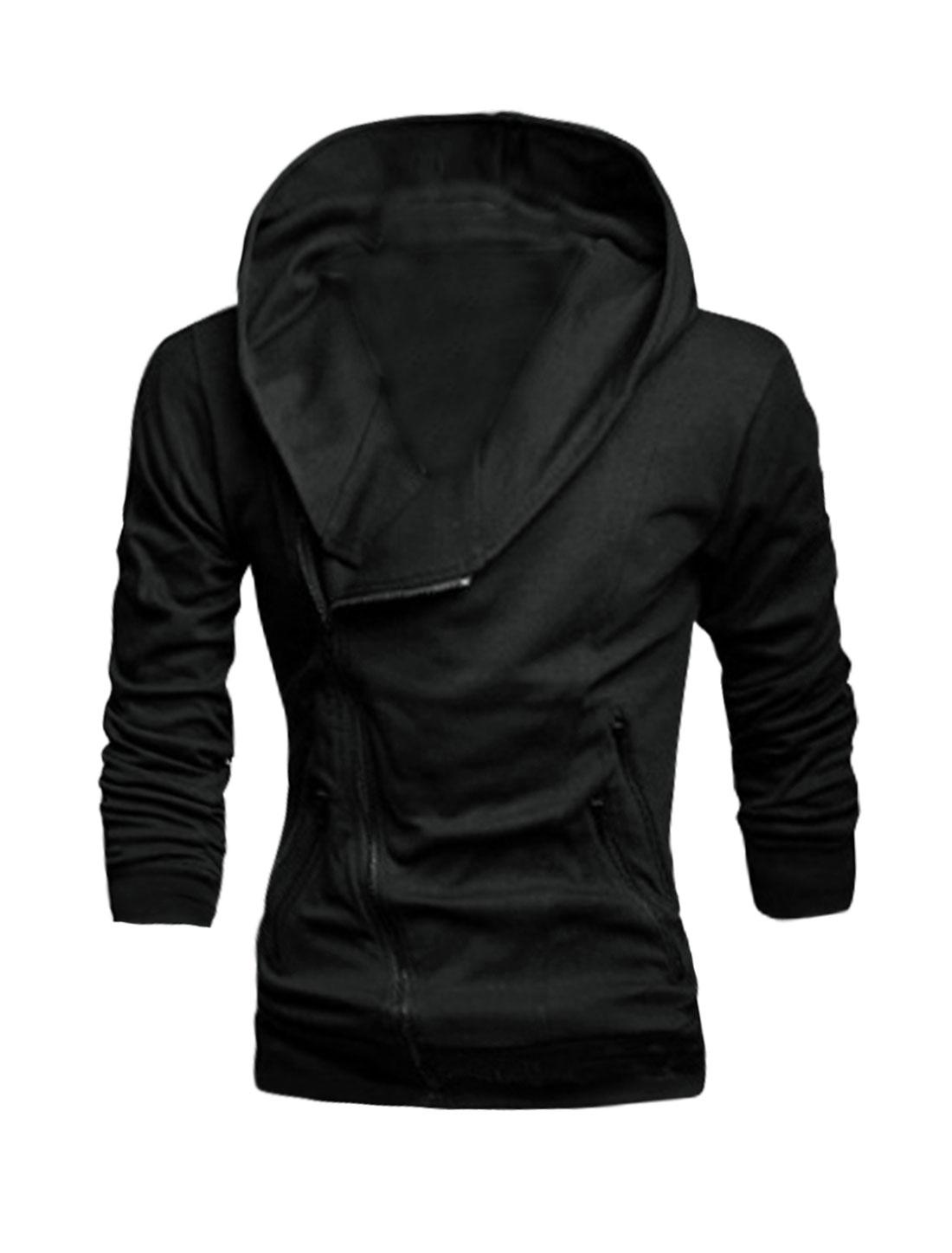 Men Long Sleeves Zipper Closure Slim Fit Hooded Jacket Black M