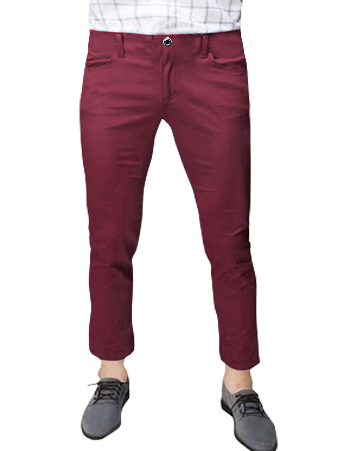 Men Mid Rise Zip Fly Slant Pockets Casual Cropped Pants Red W32