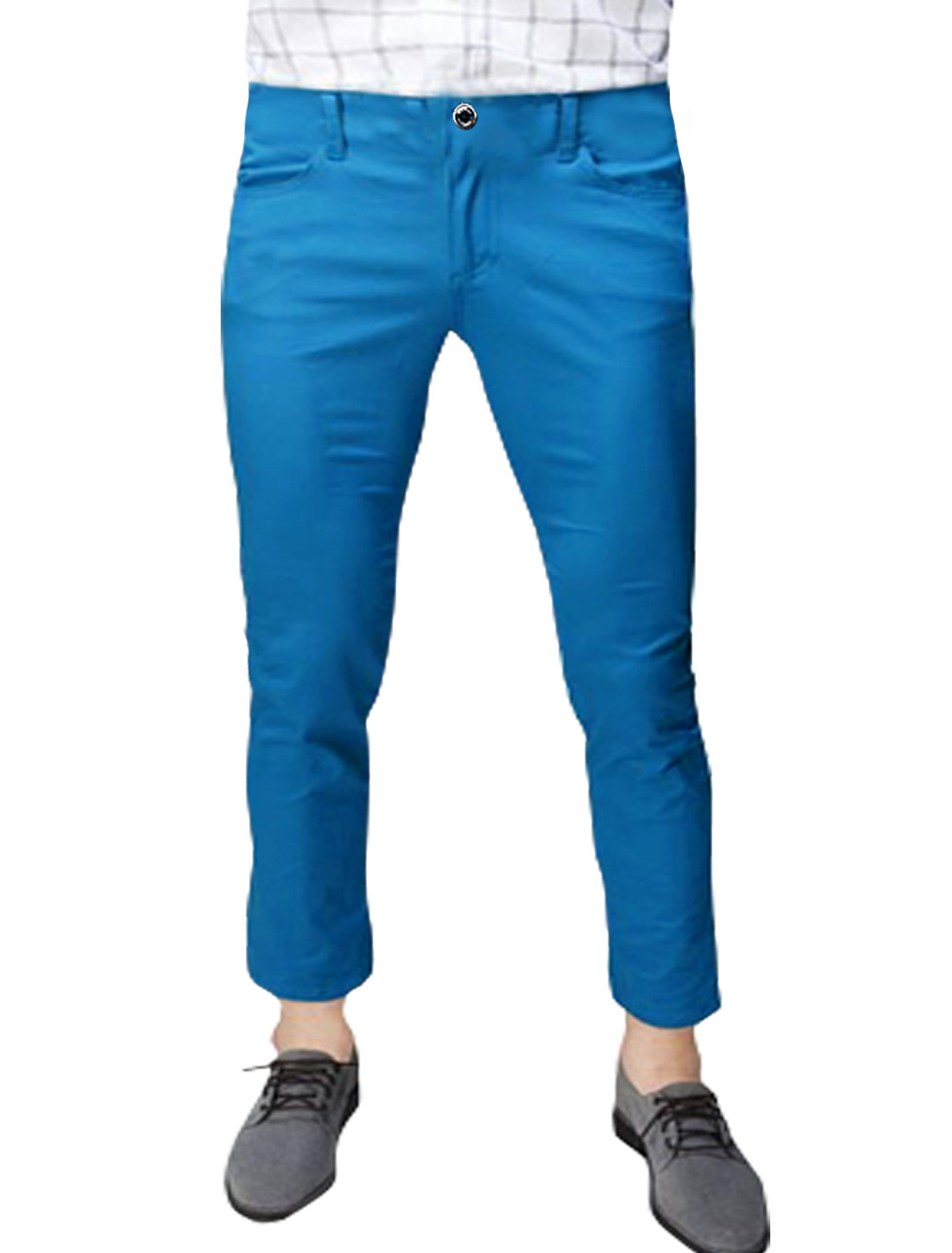 Men Mid Rise Zip Fly Slant Pockets Casual Cropped Pants Royal Blue W36