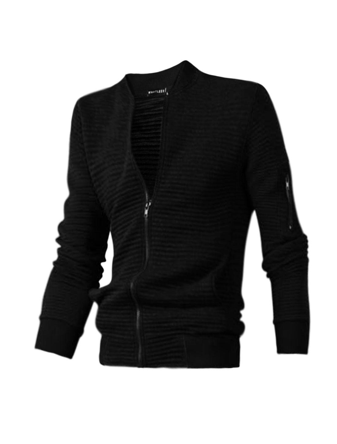Man Stand Collar Textured Slim Fit Jacket Black M