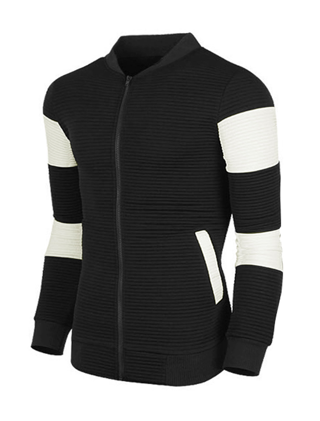 Men Stand Collar Zip Up Contrast Color Slim Fit Jacket Black M