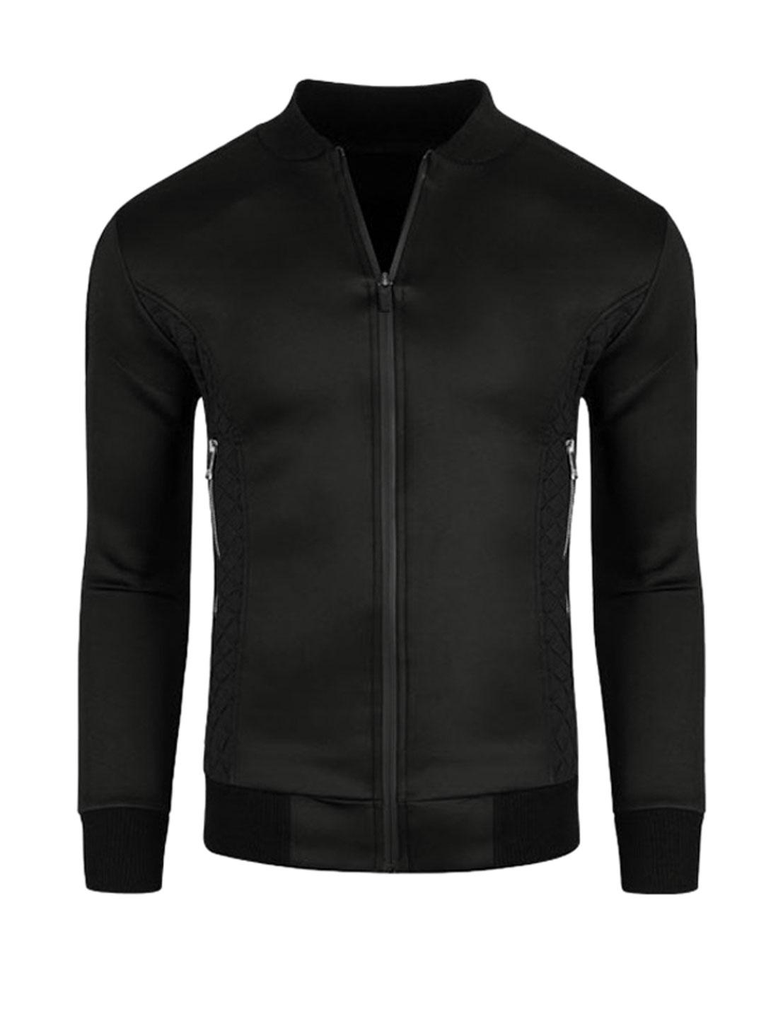 Men Zippered Pockets Quilted Panel Slim Fit Jacket Black M