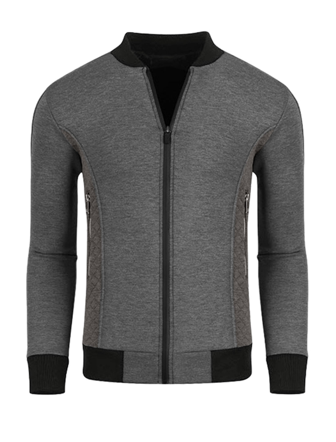 Men Zippered Pockets Quilted Panel Slim Fit Jacket Gray M