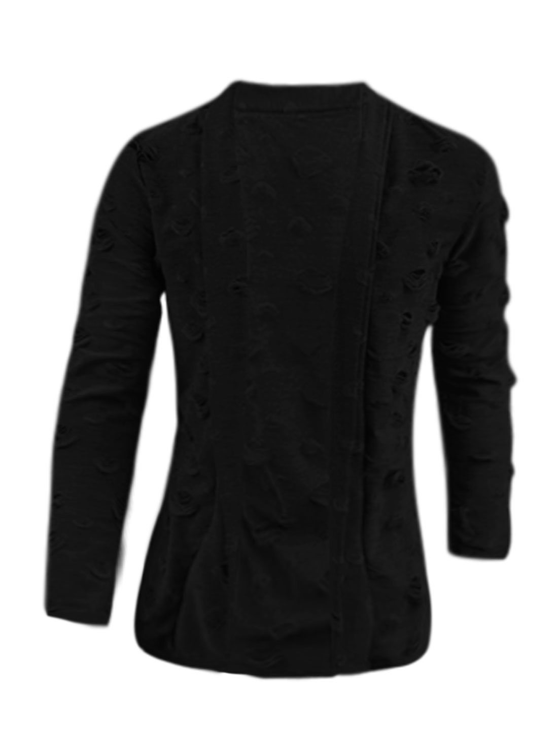 Men Long Sleeves Shawl Collar Distressed Cardigan Black M