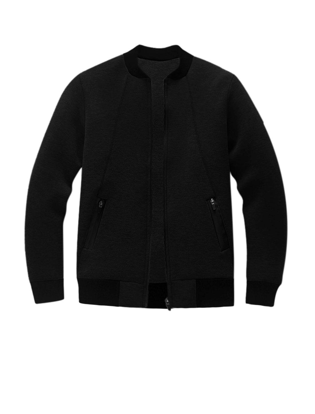 Men Long Sleeves Stand Collar Zip Up Slim Fit Jacket Black M