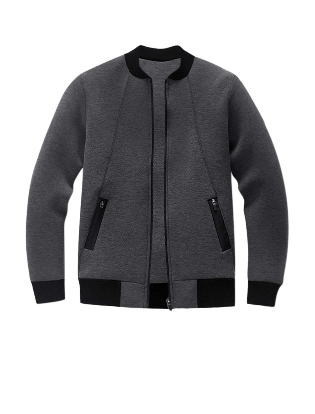 Men Long Sleeves Stand Collar Zip Up Slim Fit Jacket Gray M