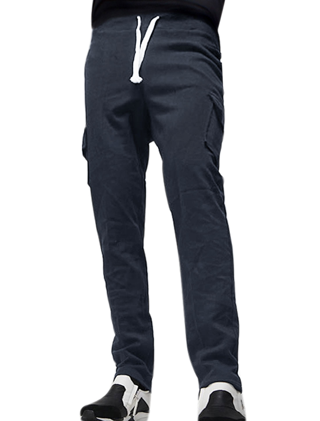 Men Two Flap Pockets Tapered Slim Fit Pants Blue W32