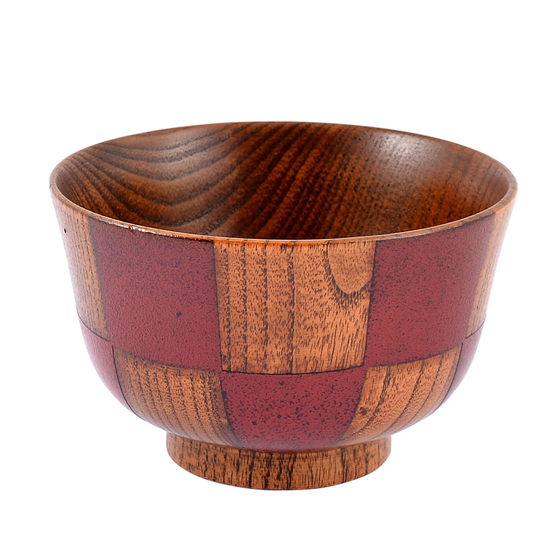 Kitchen Salad Rice Miso Soup Porridge Grids Pattern Wood Wooden Bowl