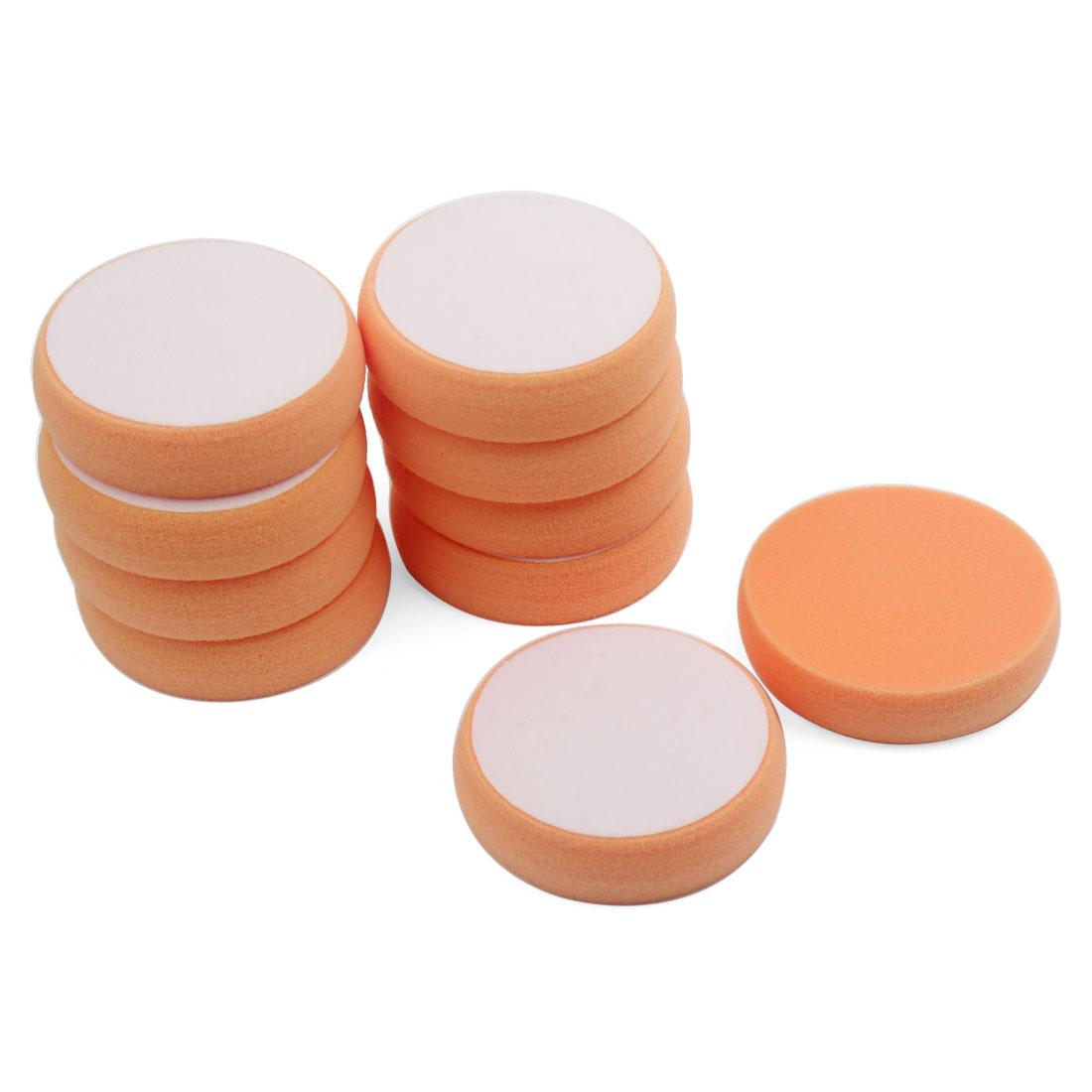 "10PCS 3.5"" Diameter Flat Sponge Buffing Polishing Pad Orange for Car Polisher"