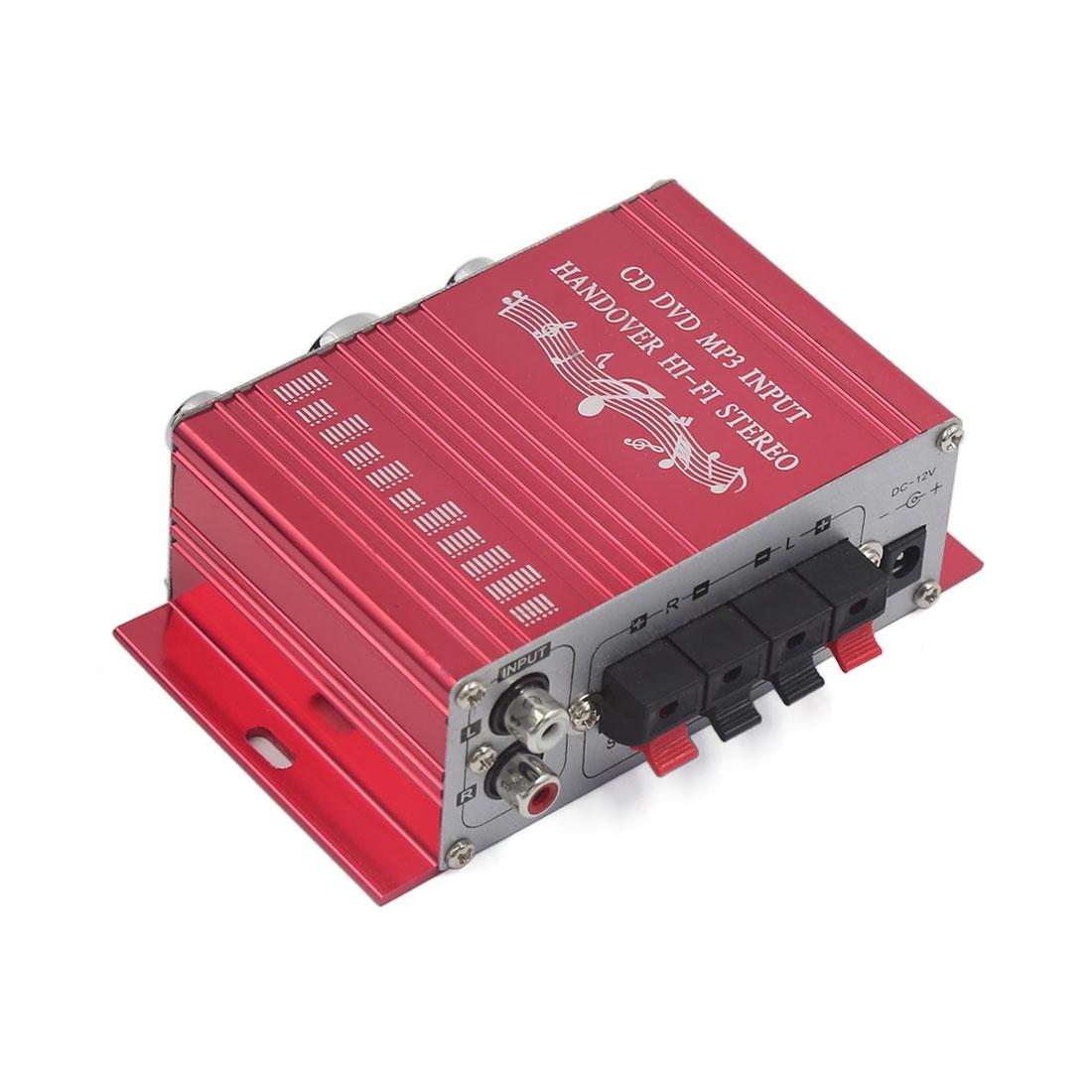 2-CH Mini Hi-Fi Car Boat Home Audio Stereo Amplifier CD DVD MP3 Player Red