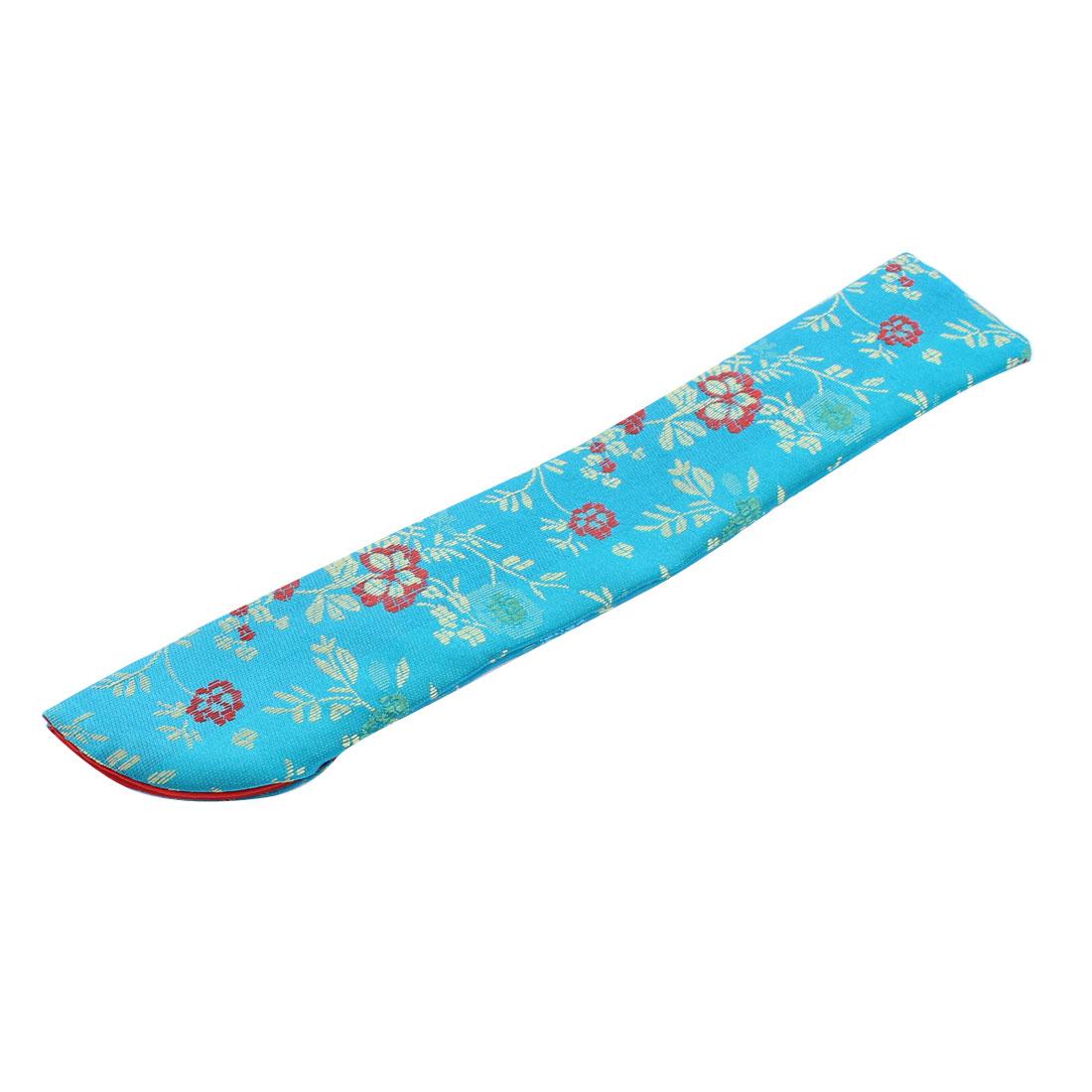 Nylon Flowers Pattern Folding Hand Fan Pouch Case Protector Maya Blue