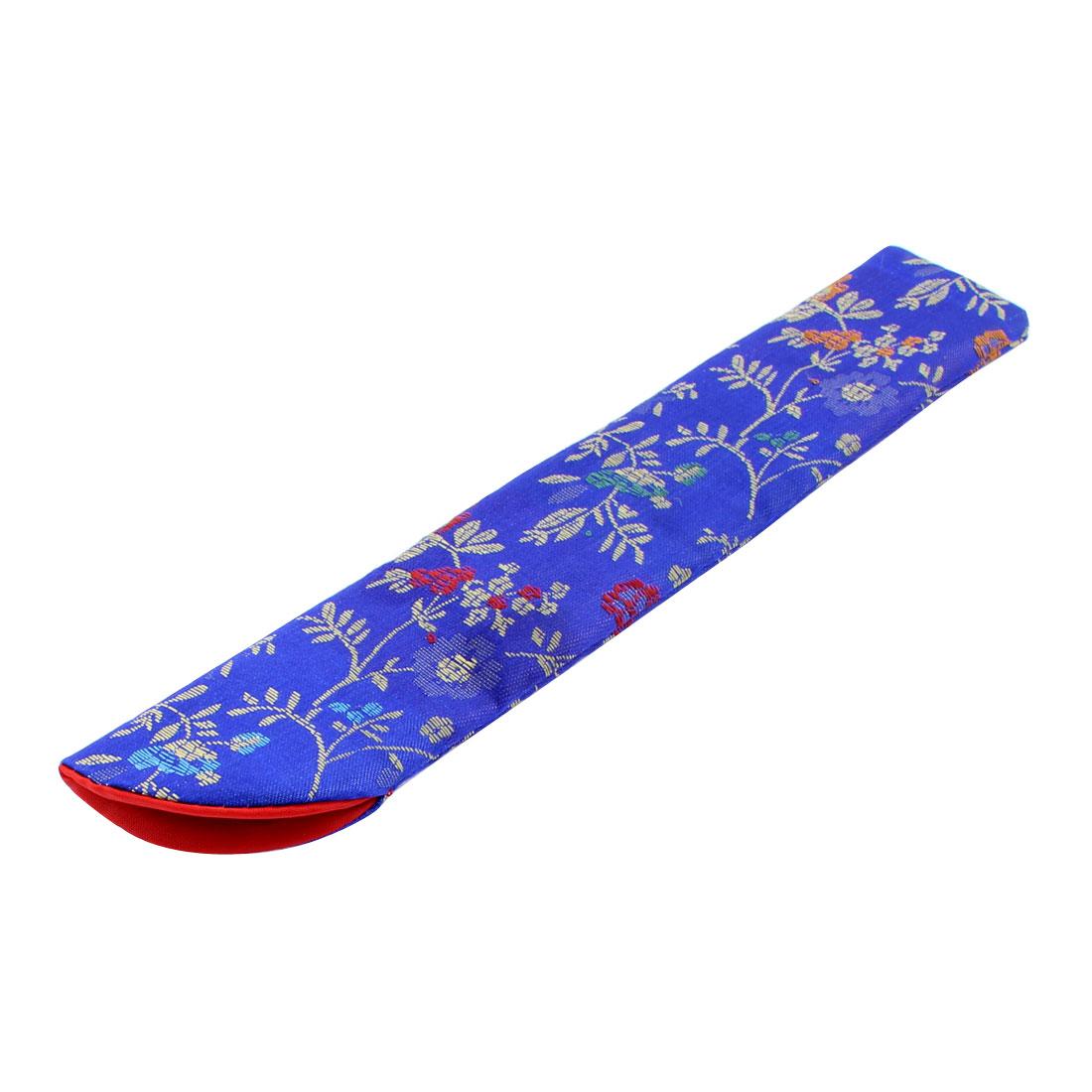 Nylon Flowers Pattern Folding Portable Hand Fan Pouch Blue