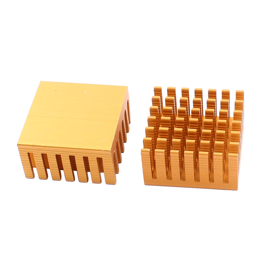 2pcs 28x28x15mm Aluminium Heat Sink Cooler Radiator Fin Heatsink Gold Tone