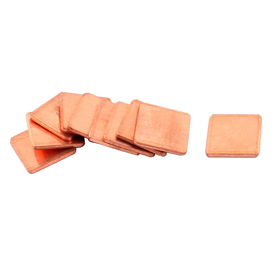 10pcs 15mmx15mmx1.5mm Copper Square Heatsink Thermal Pad Shim for PC Laptop CPU