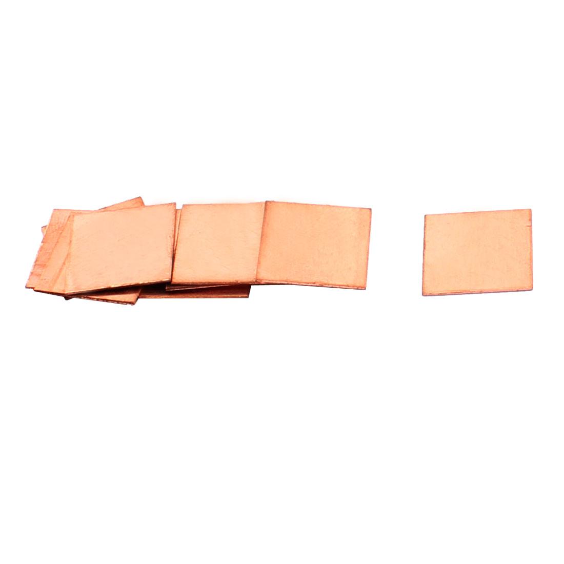 10pcs 15mmx15mmx0.5mm Copper Square Heatsink Thermal Pad Shim for PC Laptop CPU