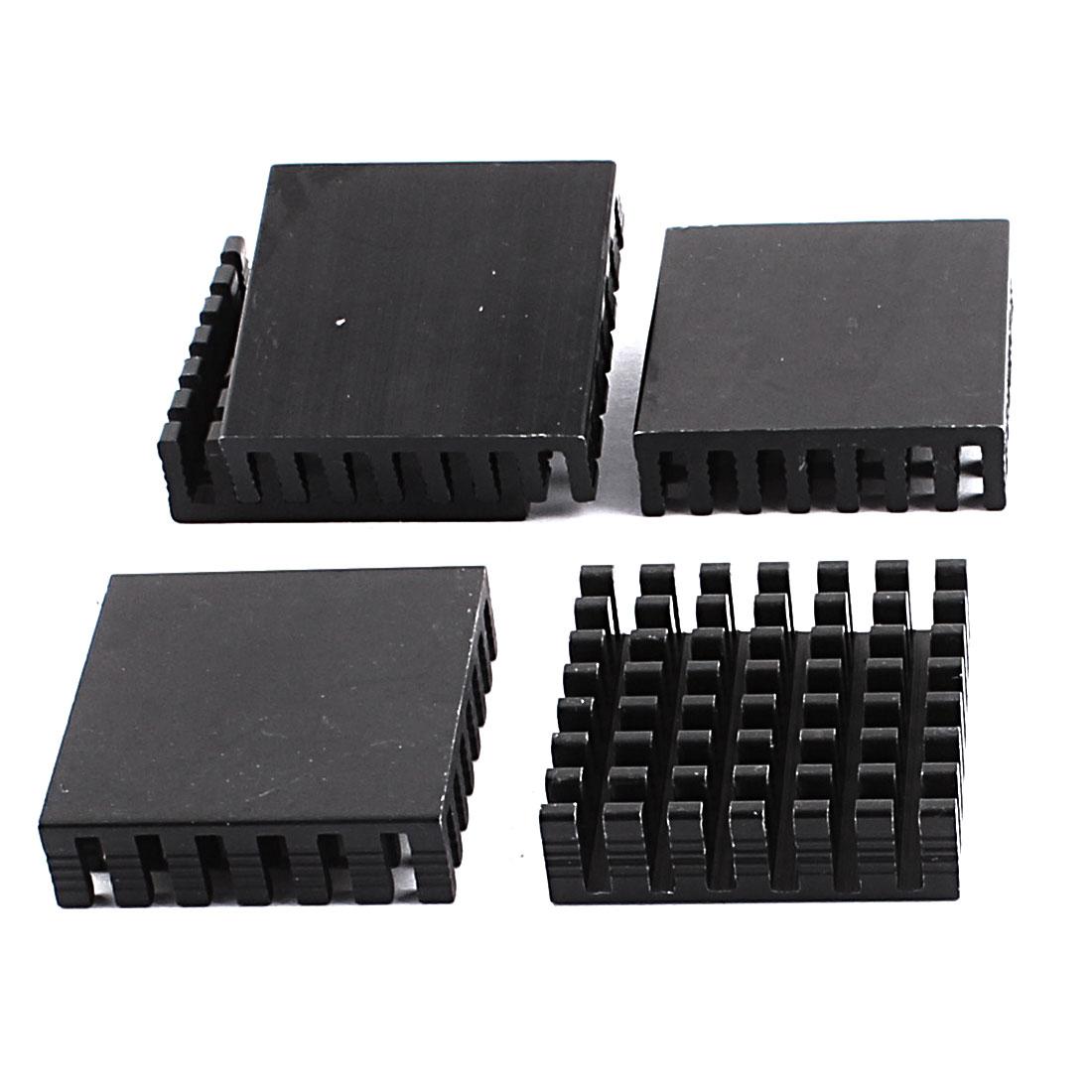5pcs Aluminium 28x28x8mm Square Heatsink Heat Diffusion Cooling Cooler Fin Black