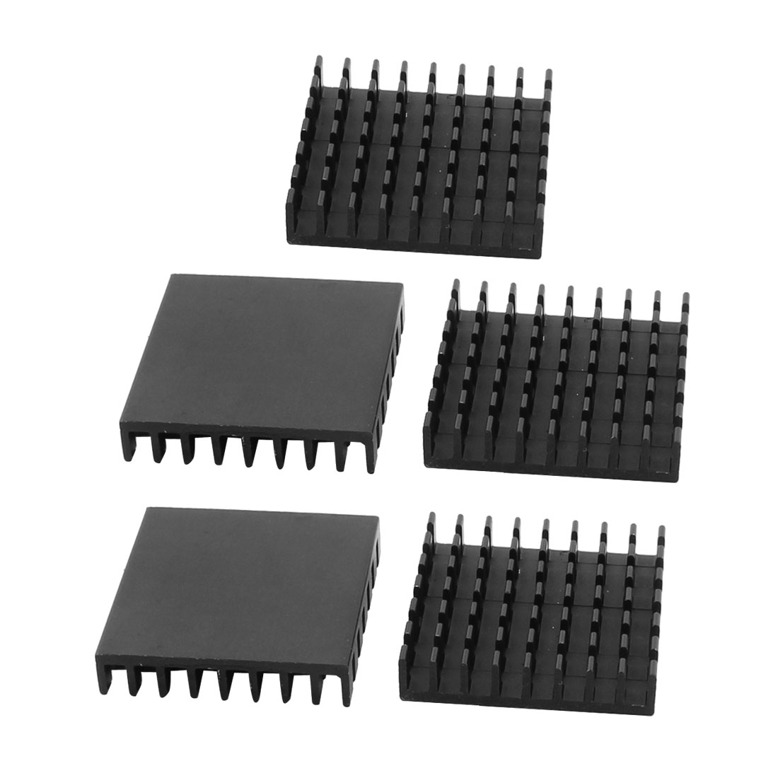 5pcs 28x28x6mm Aluminium Square Heatsink Heat Diffusion Cooling Cooler Fin Black