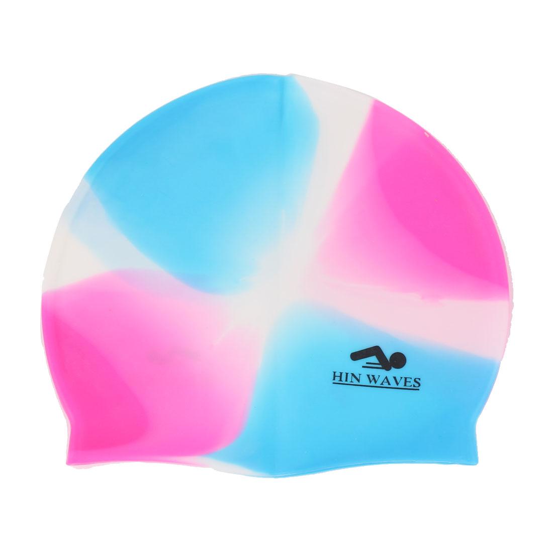Unisex Summer Silicone Water Sport Swimming Pool Swim Hat Cap Tricolor
