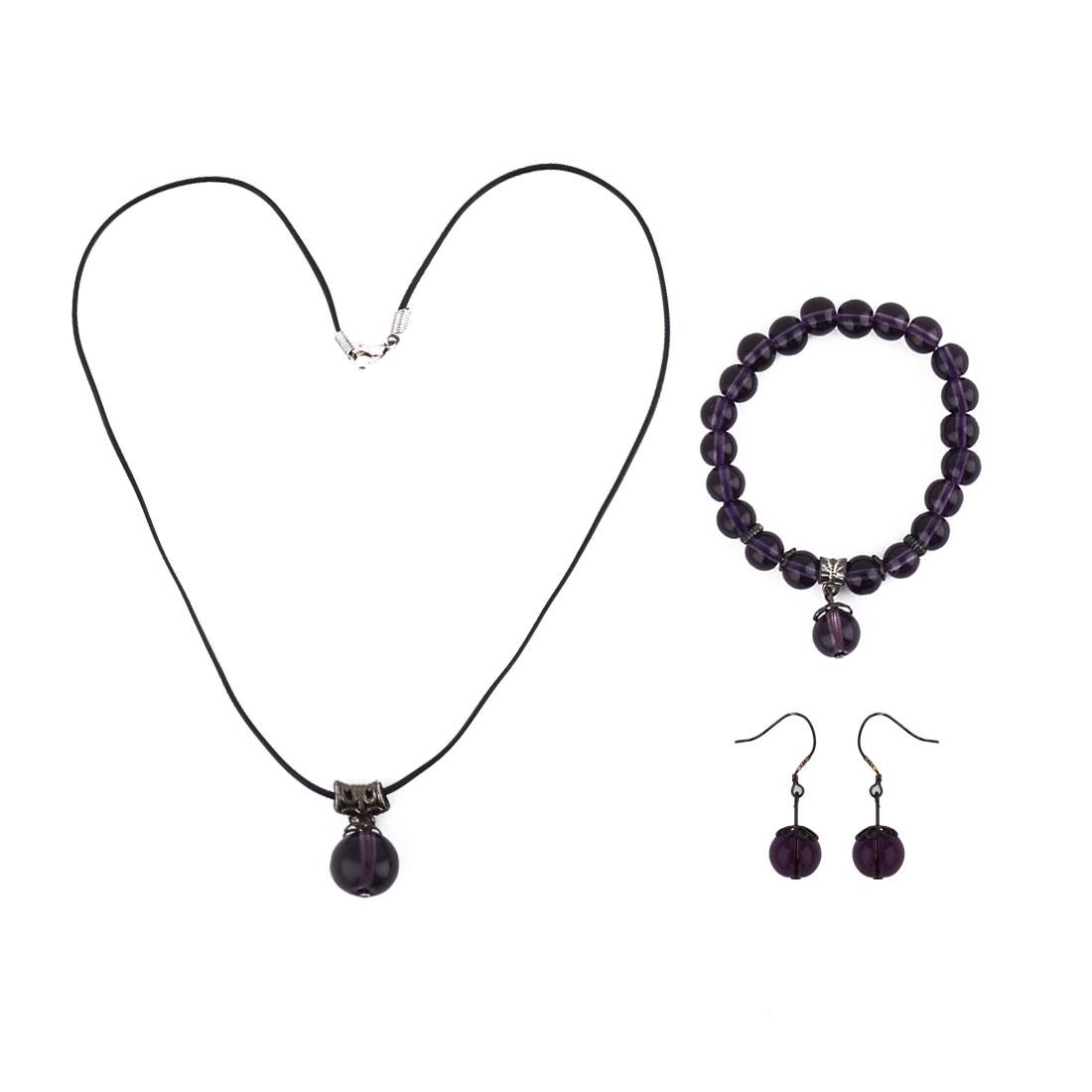 Women Plastic Beads Design Necklace Bracelet Bangle Hook Earrings Set 3 in 1 Purple