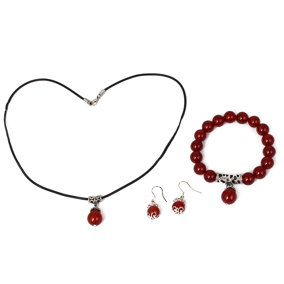 Women Plastic Beads Design Necklace Bracelet Bangle Hook Earrings Set 3 in 1 Red