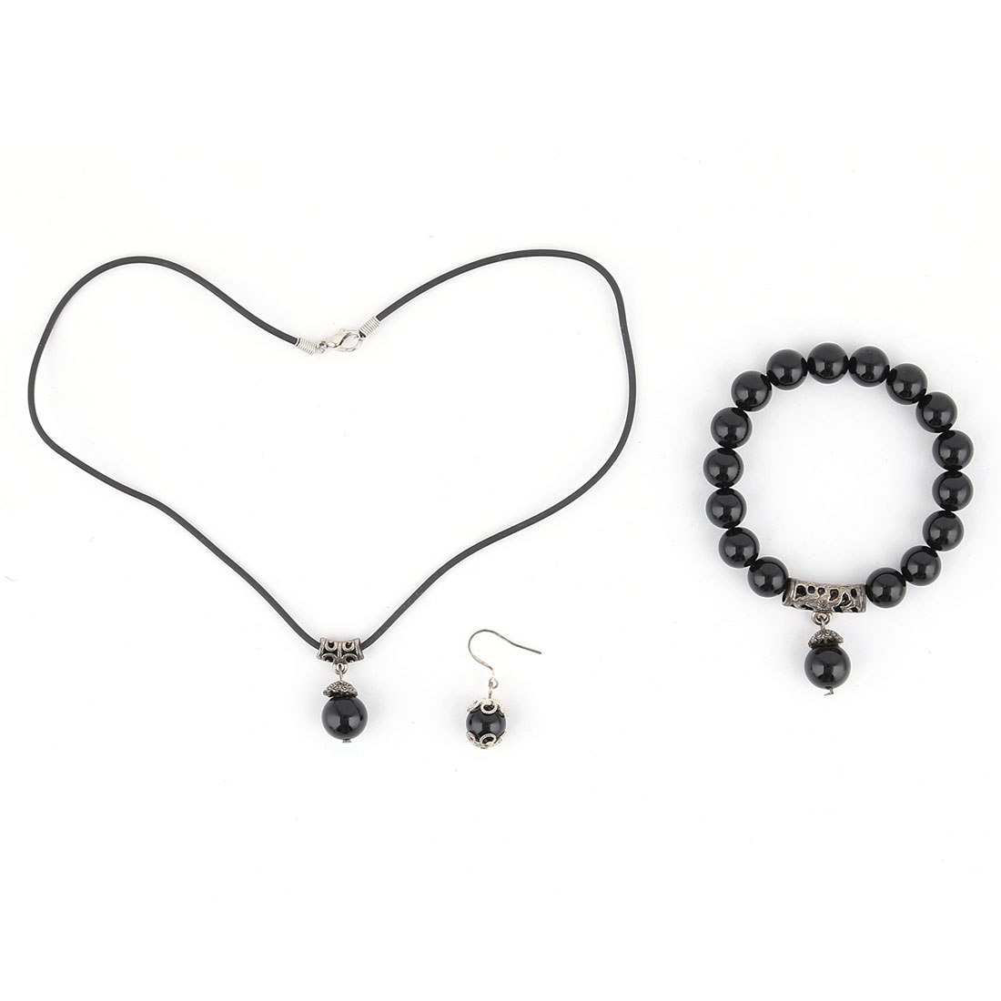 Women Plastic Beads Design Necklace Bracelet Bangle Hook Earrings Set 3 in 1 Black