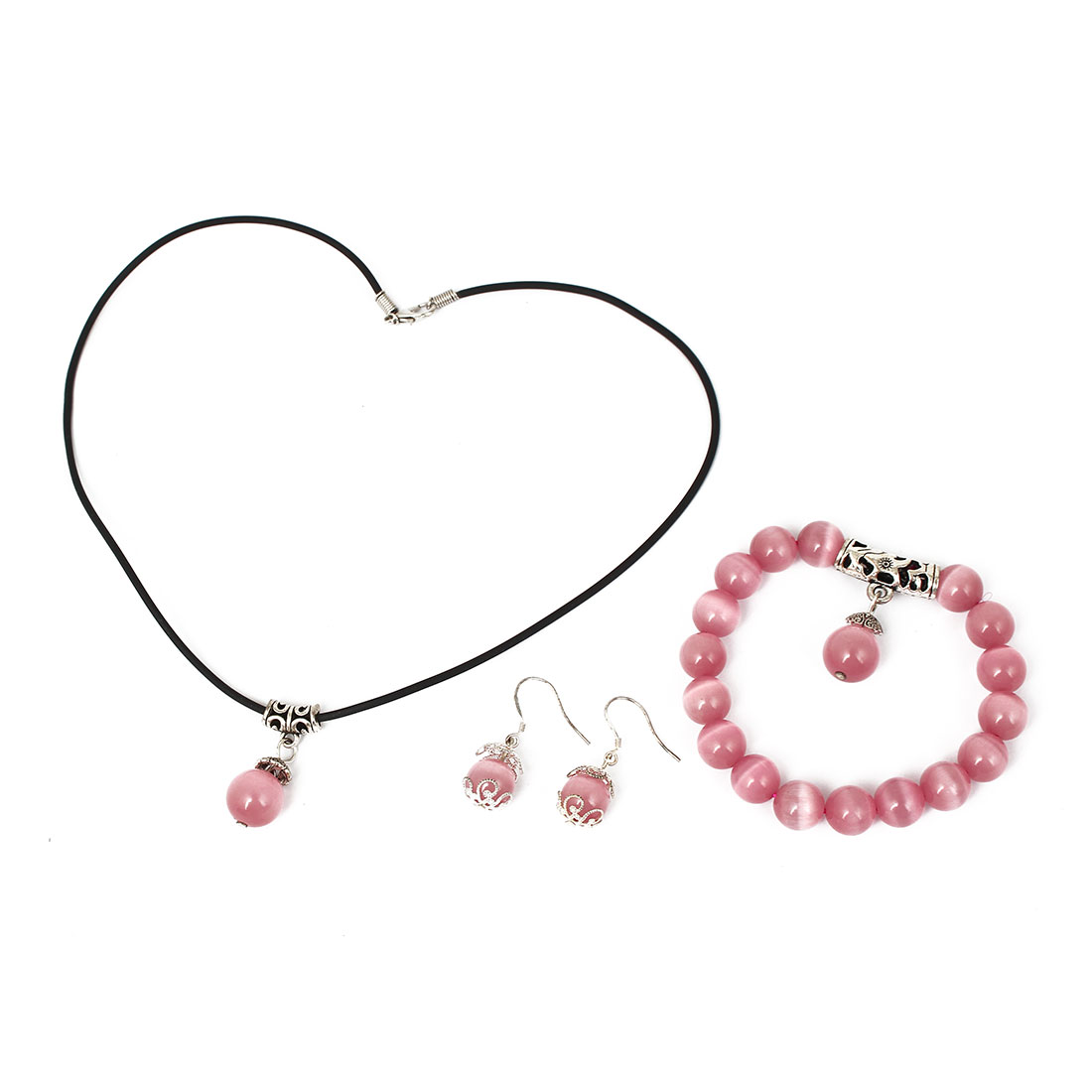 Women Plastic Beads Design Necklace Bracelet Bangle Hook Earrings Set 3 in 1 Pink