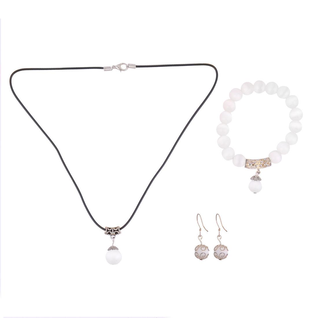 Women Plastic Beads Design Necklace Bracelet Bangle Hook Earrings Set 3 in 1 White