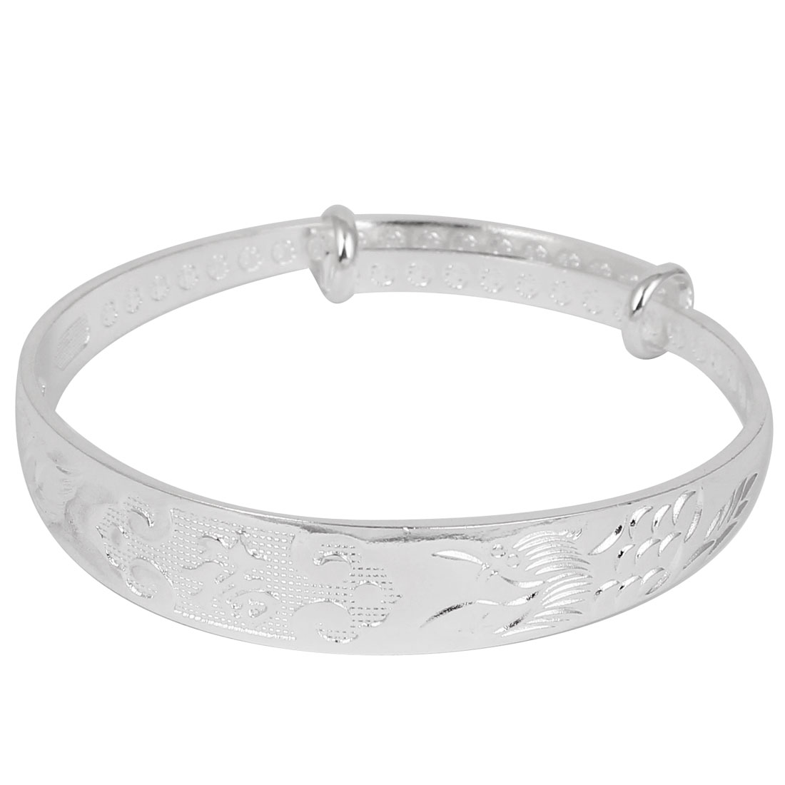 Women Metal Adjustable Push-Pull Style Wrist Decor Bracelet Bangle Silver Tone