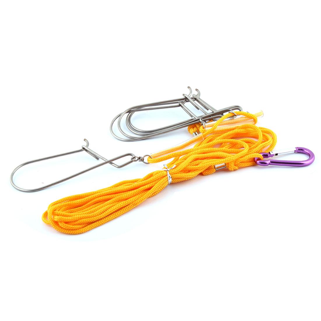 4.7M Length Rope Carabiner Clip 5 Metal Hooks Fish Fishing Lock Stringer