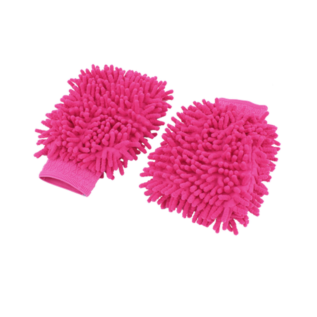 Car Window Wash Cleaning Cloth Duster Towel Mitt Gloves Fuchsia 2PCS