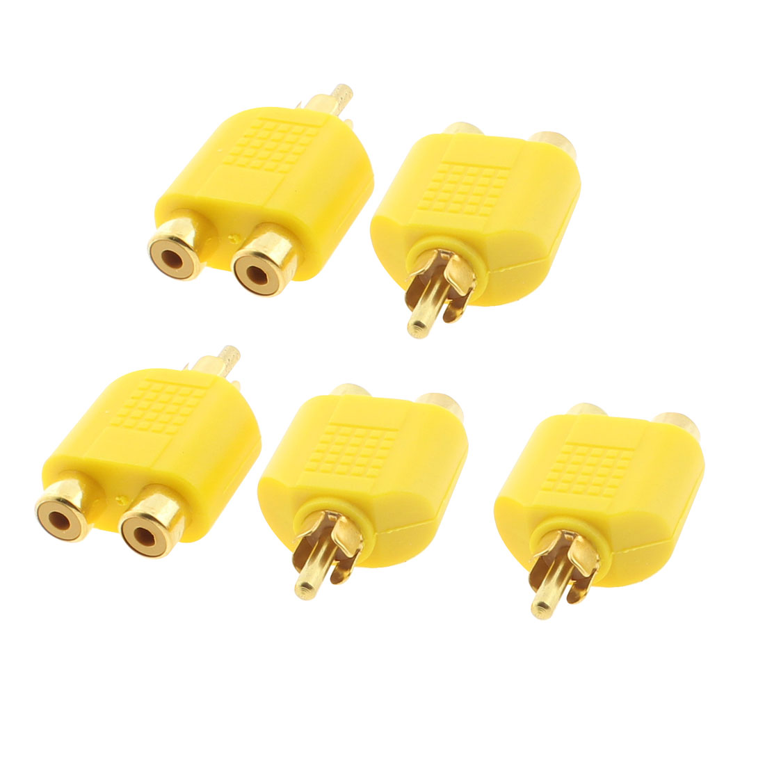 RCA Male to Double RCA Female Stereo Audio Adapter Coupler Converter Yellow 5pcs