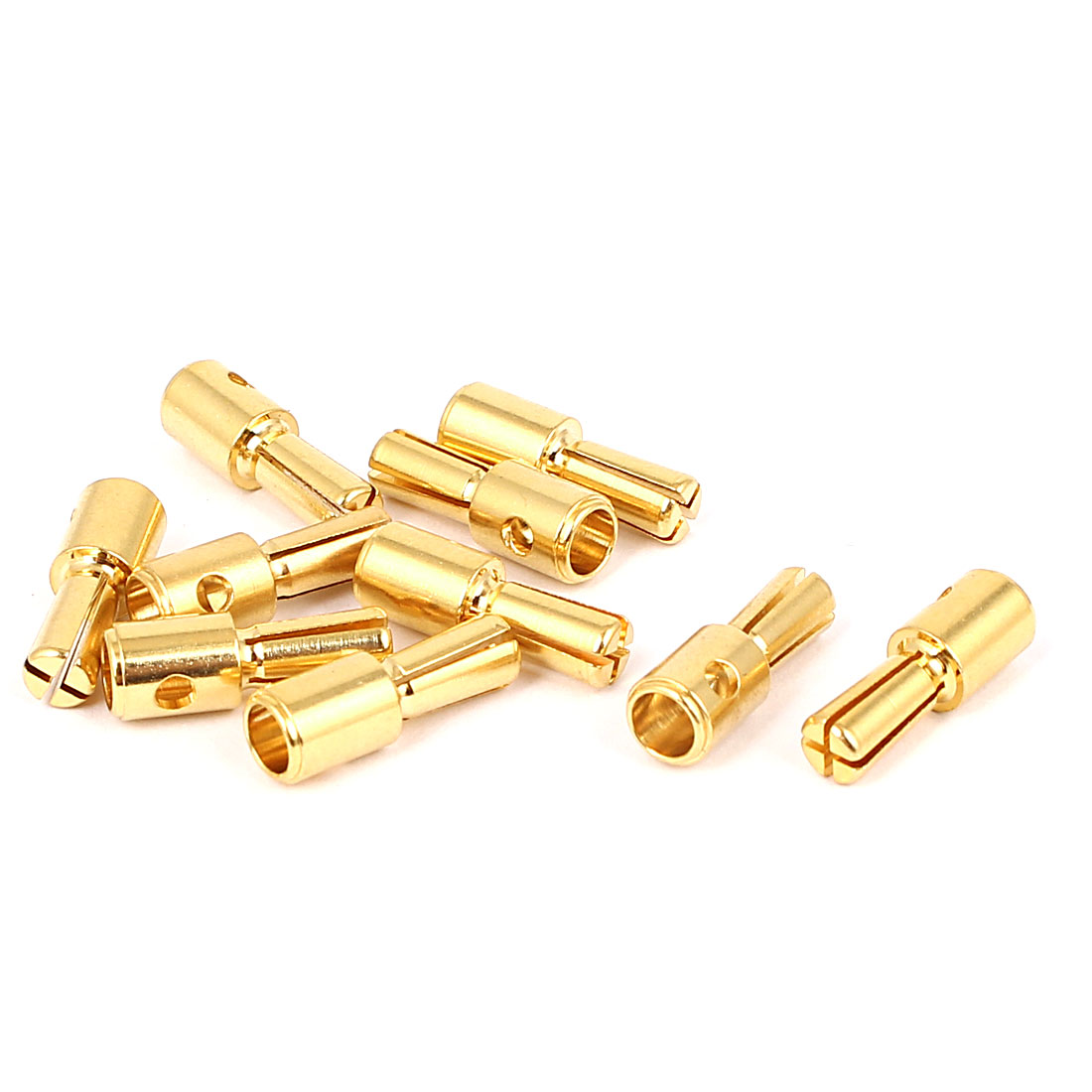 10pcs 4mm Gold Tone Metal Cross Head Banana Male Connector Adapter for RC Model Battery