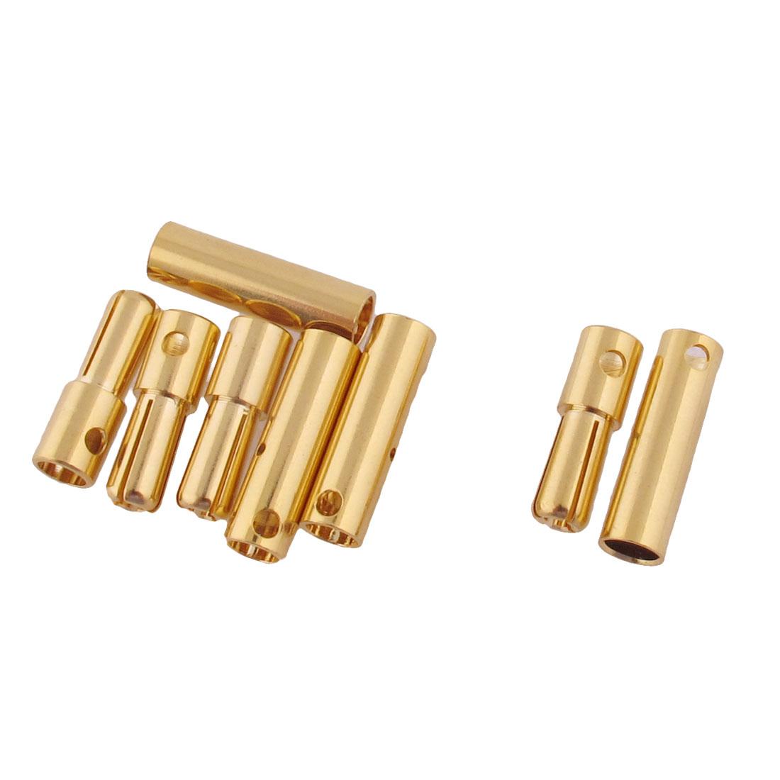 ESC RC LiPo Battery 4mm Male Female Banana Connector Gold Tone 4 Pairs