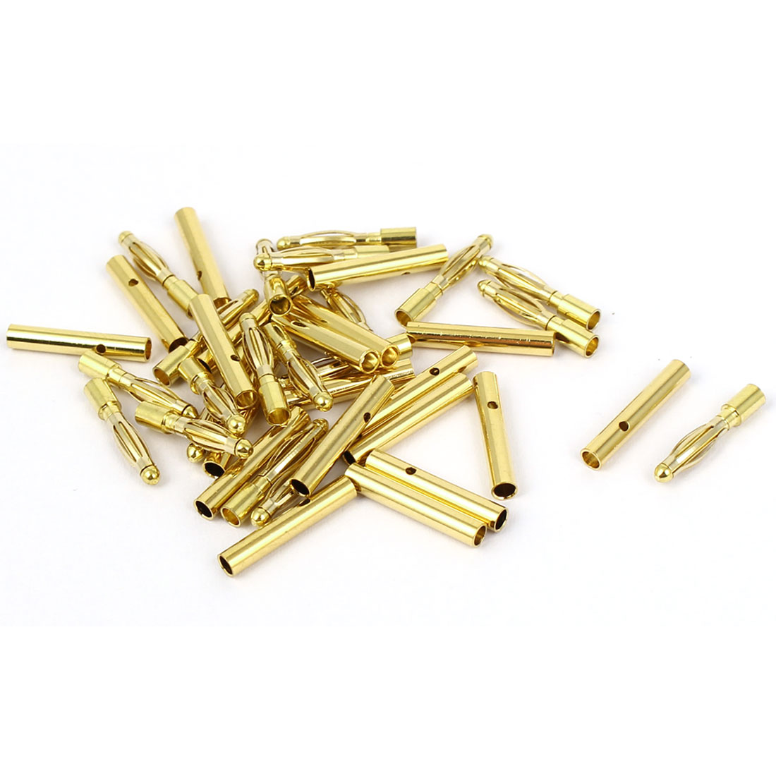 20 Pairs Gold Tone Metal RC Audio Video Phone 2mm Dia Banana Connectors