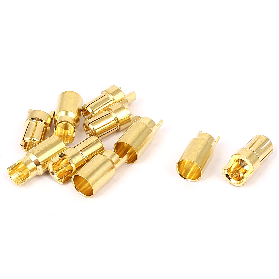 5 Pairs 6mm Gold Tone Metal Hemihedral Banana Female Male Connector for RC Helicopter