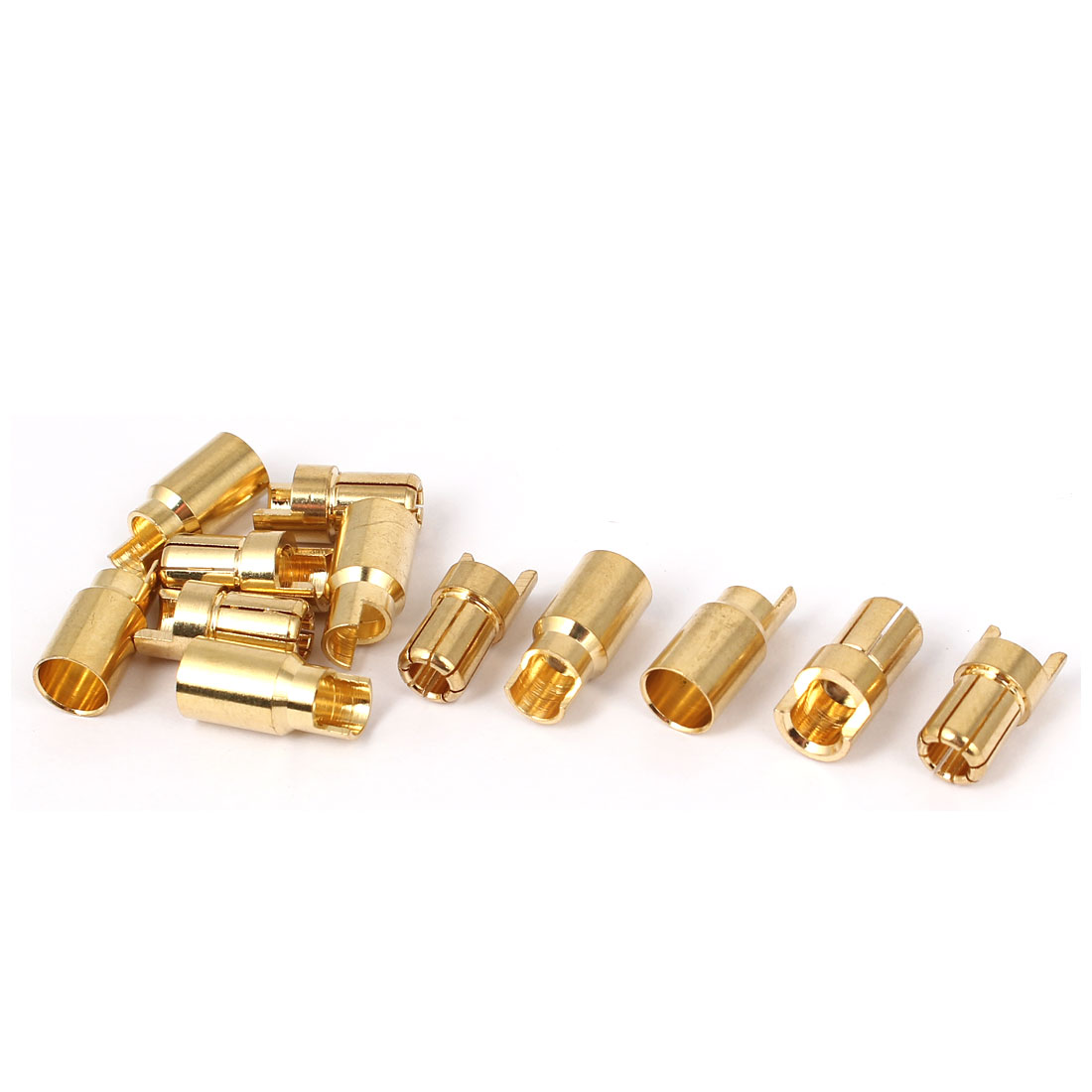 6 Pairs 6mm Gold Tone Metal Hemihedral Banana Female Male Connector for RC Helicopter