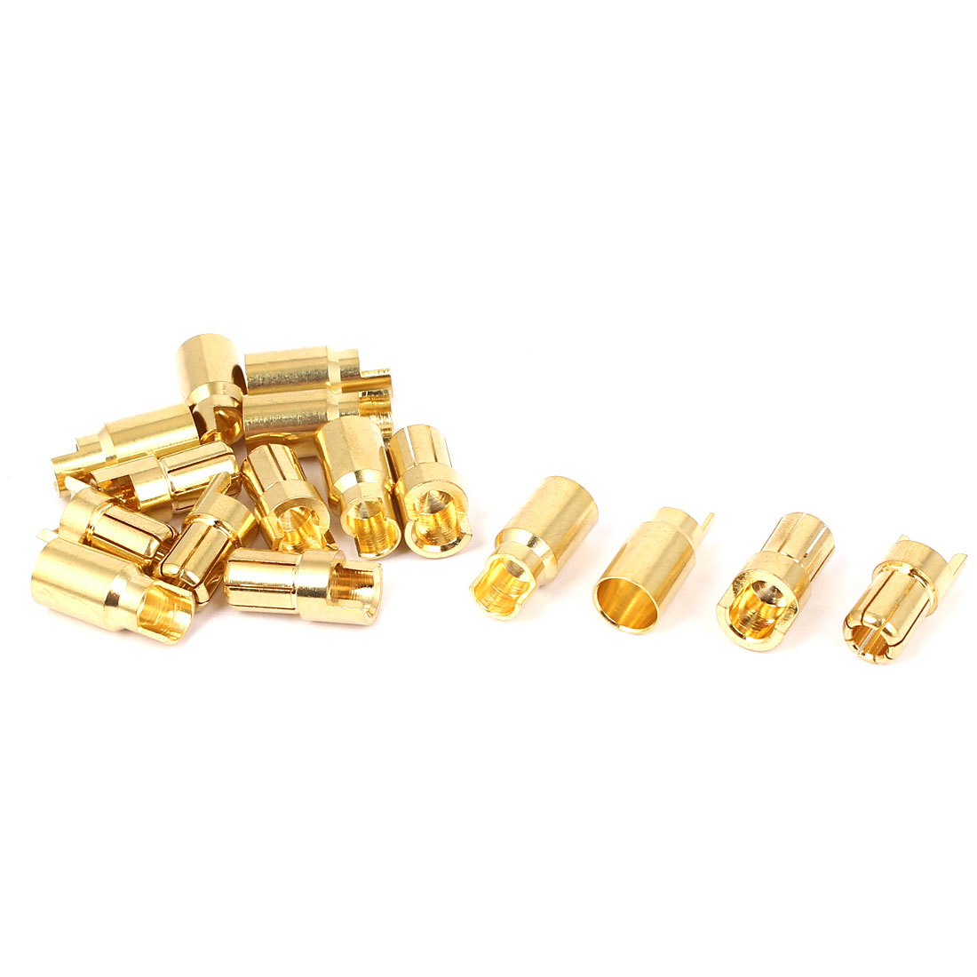 8 Pairs 6mm Gold Tone Metal Hemihedral Banana Female Male Connector for RC Helicopter