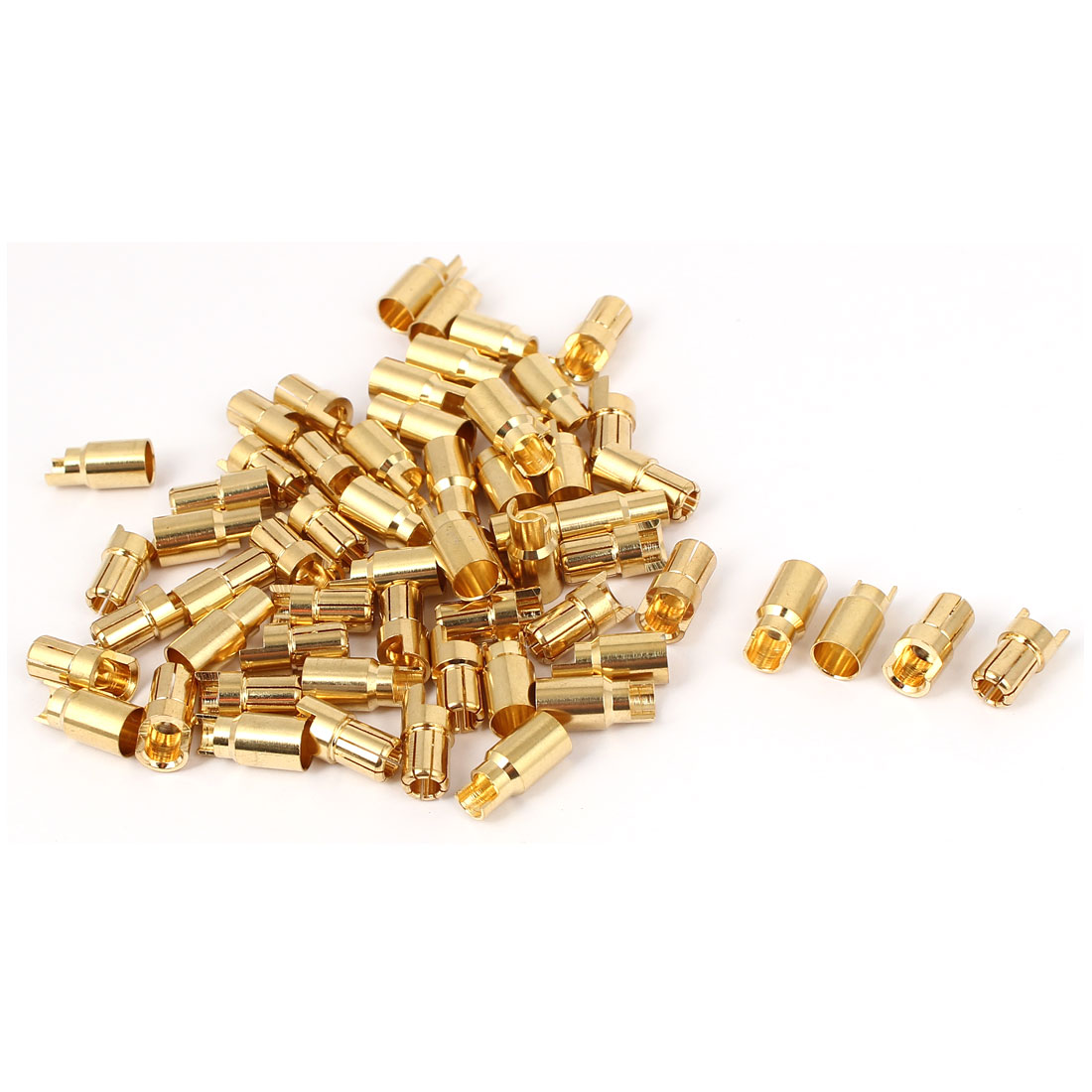 30 Pairs 6mm Gold Tone Metal Hemihedral Banana Female Male Connector for RC Helicopter