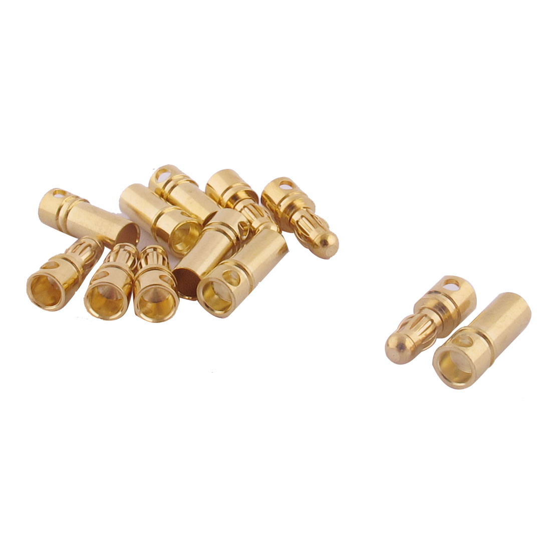 RC Motor ESC Battery 3.5mm Male Female Banana Connector Gold Tone 6 Pairs