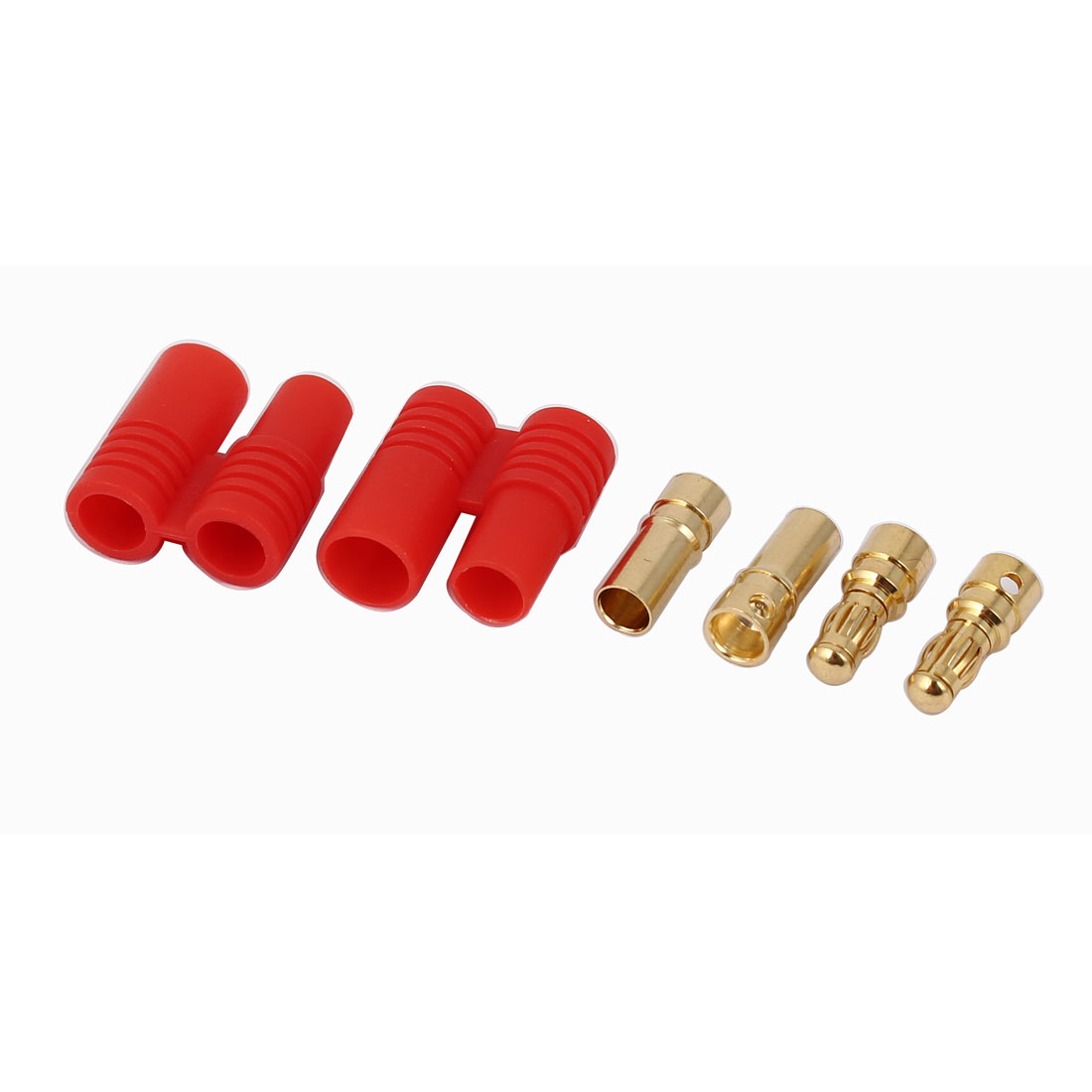 Audio Cable Red Gold Tone Screw Type Dual 3.5mm Banana Connector 2 Pairs