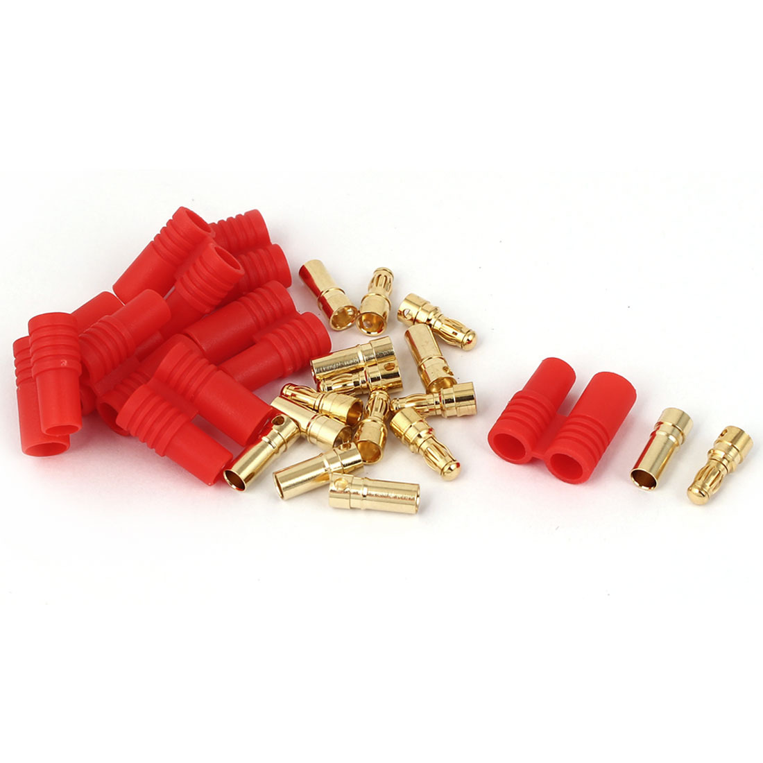 Audio Cable Red Gold Tone Screw Type Dual 3.5mm Banana Connector 8 Pairs