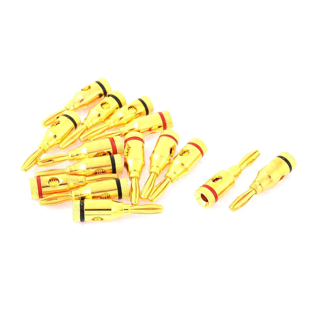 15pcs Metal Female Thread Type Audio Speaker Cable Banana Connector Converter